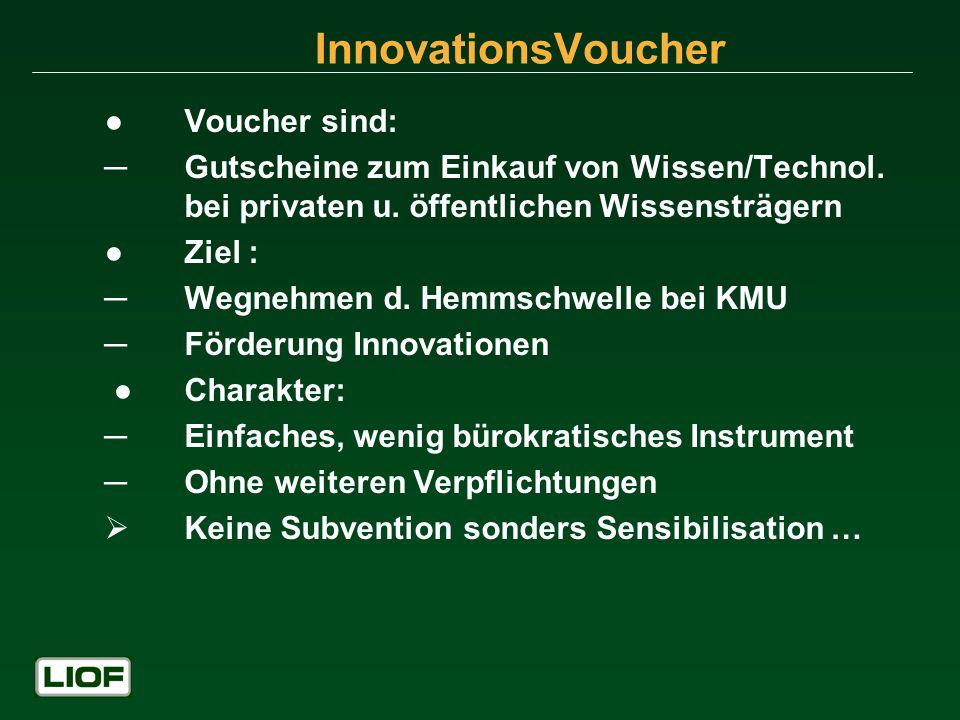 Voucher sind: Gutscheine zum Einkauf von Wissen/Technol. bei privaten u. öffentlichen Wissensträgern Ziel : Wegnehmen d. Hemmschwelle bei KMU Förderun