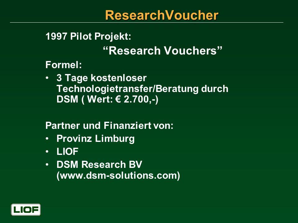 1997 Pilot Projekt: Research Vouchers Formel: 3 Tage kostenloser Technologietransfer/Beratung durch DSM ( Wert: 2.700,-) Partner und Finanziert von: P