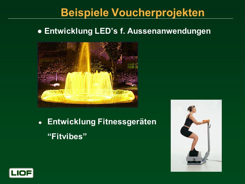 Beispiele Voucherprojekten Entwicklung LEDs f. Aussenanwendungen Entwicklung Fitnessgeräten Fitvibes