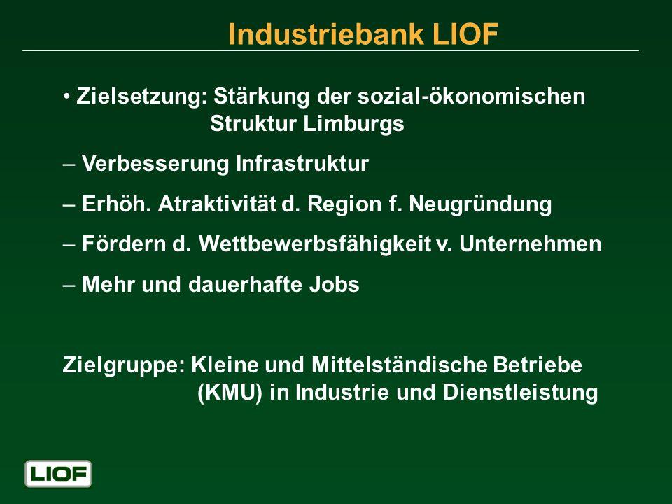 Industriebank LIOF Zielsetzung: Stärkung der sozial-ökonomischen Struktur Limburgs – Verbesserung Infrastruktur – Erhöh. Atraktivität d. Region f. Neu