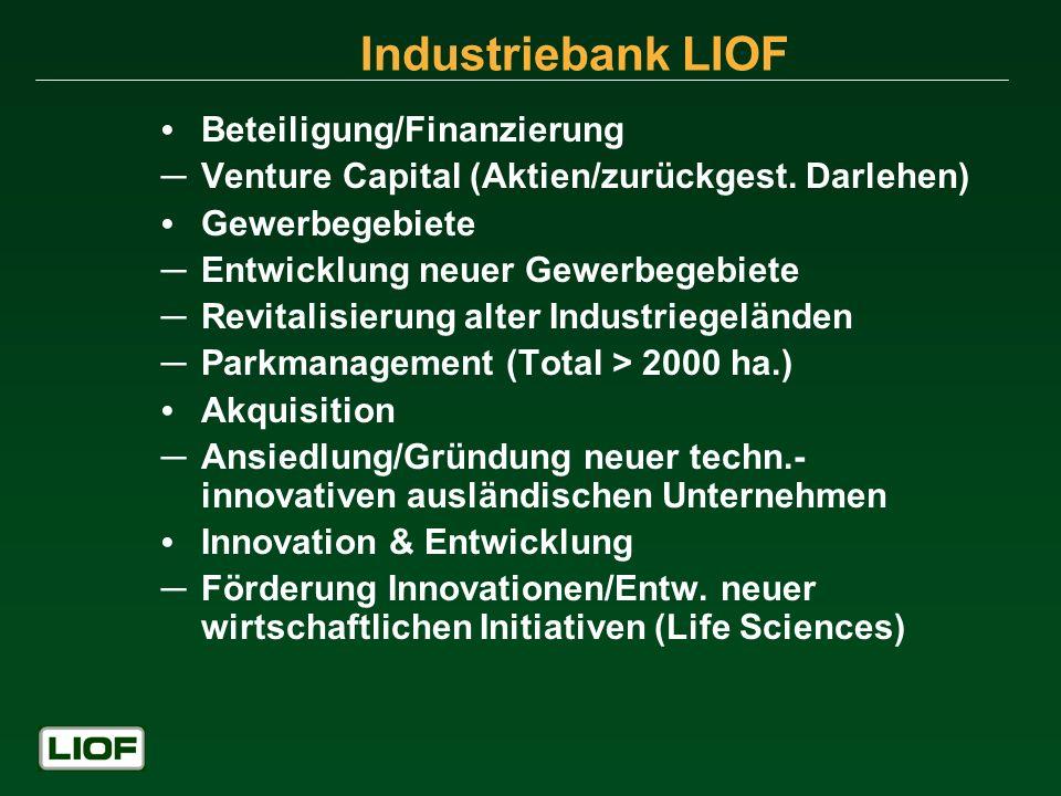 Industriebank LIOF Beteiligung/Finanzierung Venture Capital (Aktien/zurückgest. Darlehen) Gewerbegebiete Entwicklung neuer Gewerbegebiete Revitalisier