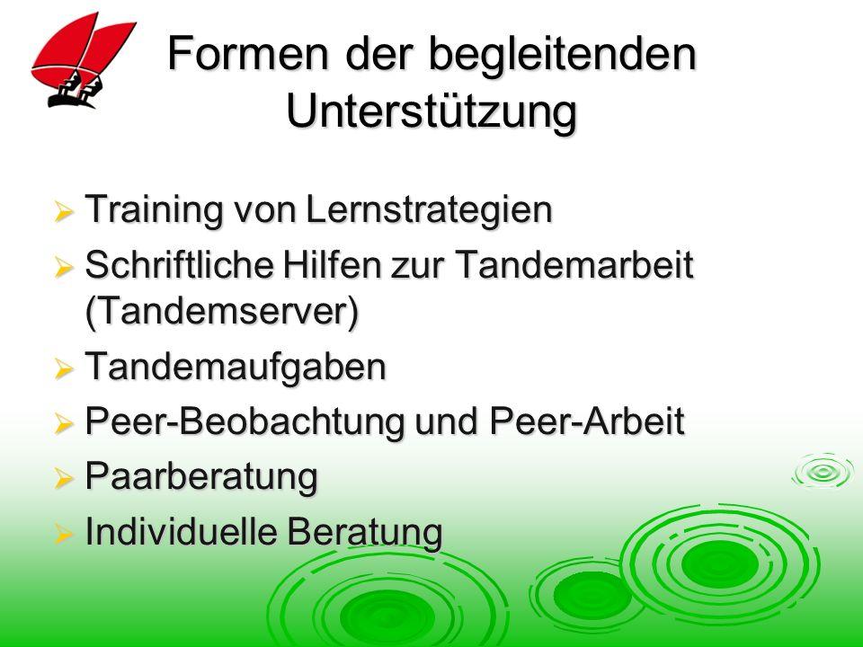 Formen der begleitenden Unterstützung Training von Lernstrategien Training von Lernstrategien Schriftliche Hilfen zur Tandemarbeit (Tandemserver) Schriftliche Hilfen zur Tandemarbeit (Tandemserver) Tandemaufgaben Tandemaufgaben Peer-Beobachtung und Peer-Arbeit Peer-Beobachtung und Peer-Arbeit Paarberatung Paarberatung Individuelle Beratung Individuelle Beratung