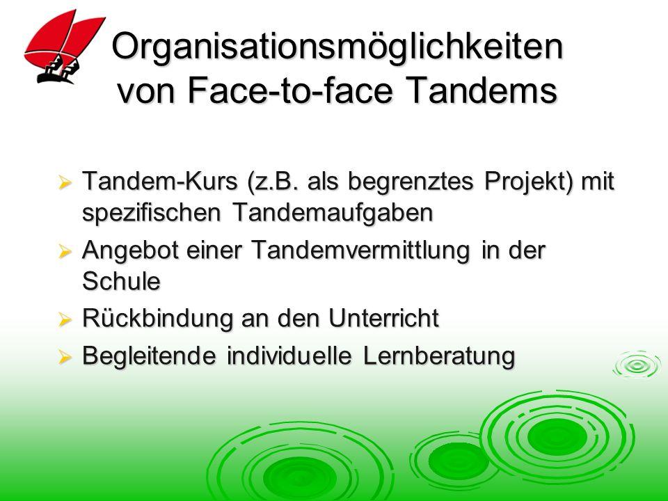 Organisationsmöglichkeiten von Face-to-face Tandems Tandem-Kurs (z.B.