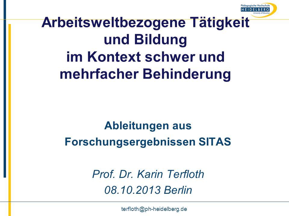 Name Arbeitsweltbezogene Tätigkeit und Bildung im Kontext schwer und mehrfacher Behinderung Ableitungen aus Forschungsergebnissen SITAS Prof. Dr. Kari