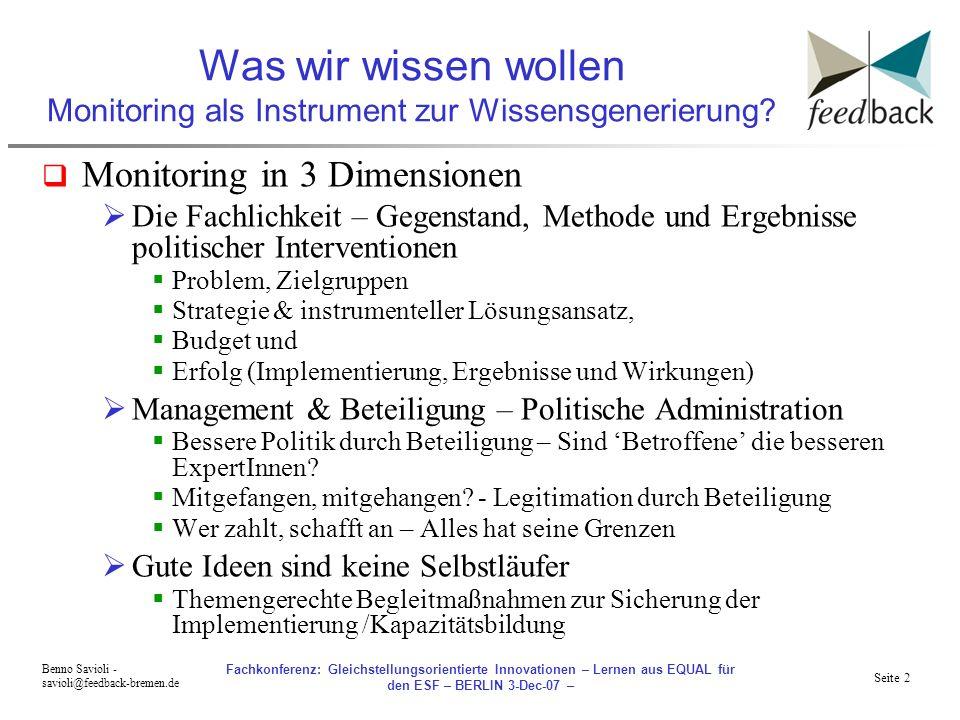 Seite 2 Benno Savioli - savioli@feedback-bremen.de Fachkonferenz: Gleichstellungsorientierte Innovationen – Lernen aus EQUAL für den ESF – BERLIN 3-Dec-07 – Was wir wissen wollen Monitoring als Instrument zur Wissensgenerierung.