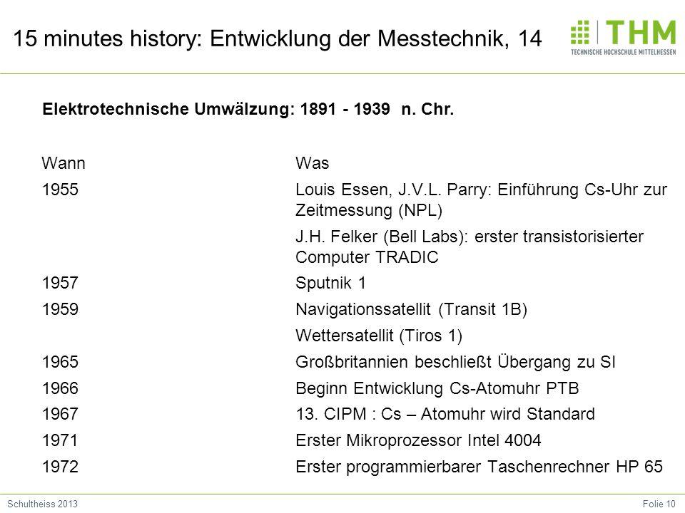 Folie 10Schultheiss 2013 15 minutes history: Entwicklung der Messtechnik, 14 Wann 1955 1957 1959 1965 1966 1967 1971 1972 Was Louis Essen, J.V.L. Parr
