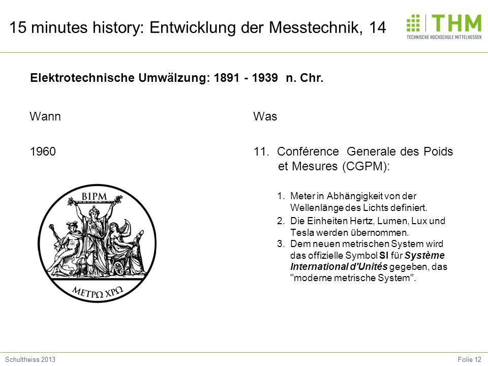 Folie 12Schultheiss 2013 15 minutes history: Entwicklung der Messtechnik, 14 Wann 1960 Was 11. Conférence Generale des Poids et Mesures (CGPM): 1. Met