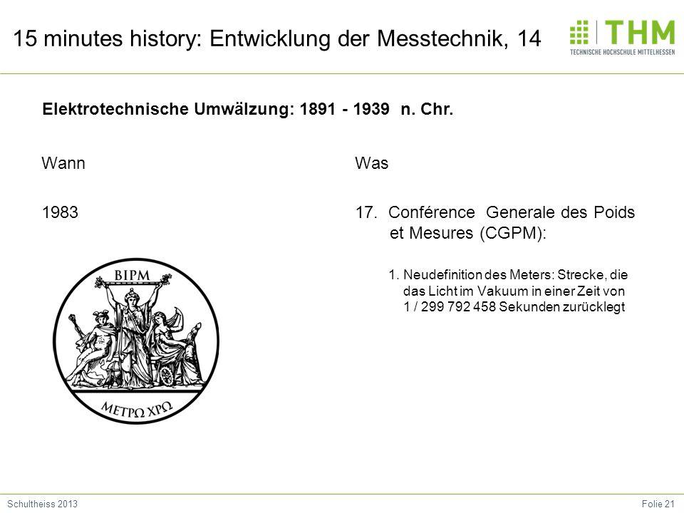 Folie 21Schultheiss 2013 15 minutes history: Entwicklung der Messtechnik, 14 Wann 1983 Was 17. Conférence Generale des Poids et Mesures (CGPM): 1. Neu