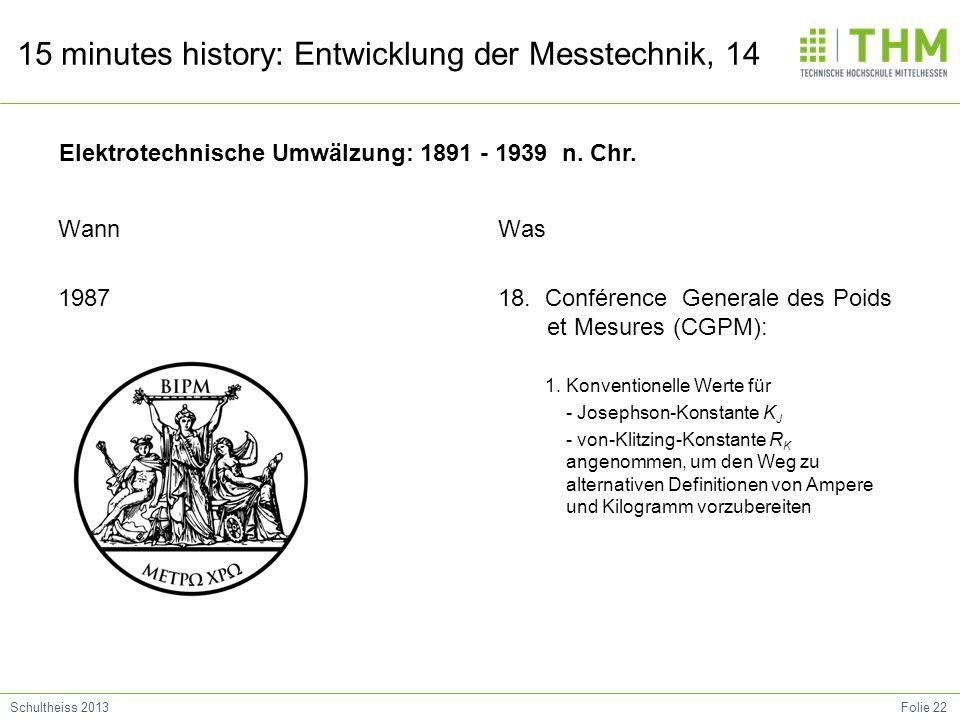 Folie 22Schultheiss 2013 15 minutes history: Entwicklung der Messtechnik, 14 Wann 1987 Was 18. Conférence Generale des Poids et Mesures (CGPM): 1. Kon