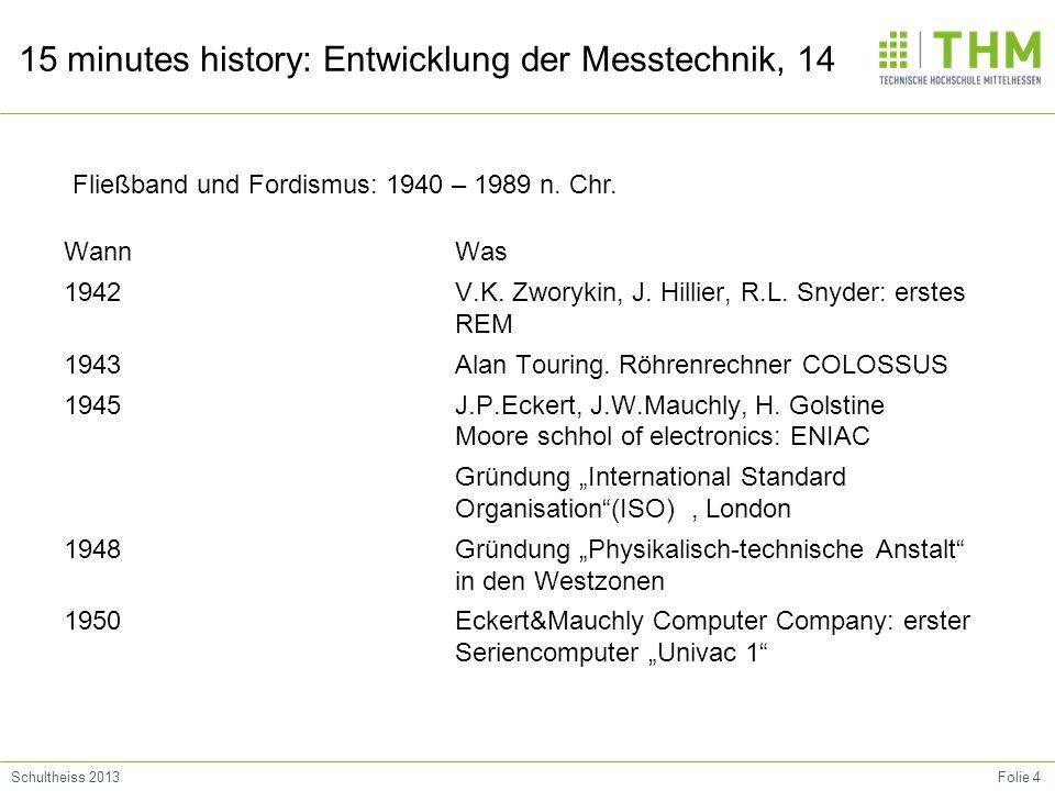 Folie 4Schultheiss 2013 15 minutes history: Entwicklung der Messtechnik, 14 Wann 1942 1943 1945 1948 1950 Was V.K. Zworykin, J. Hillier, R.L. Snyder:
