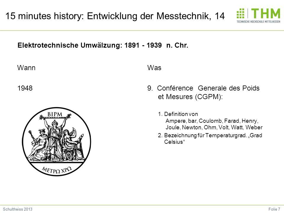 Folie 7Schultheiss 2013 15 minutes history: Entwicklung der Messtechnik, 14 Wann 1948 Was 9. Conférence Generale des Poids et Mesures (CGPM): 1. Defin