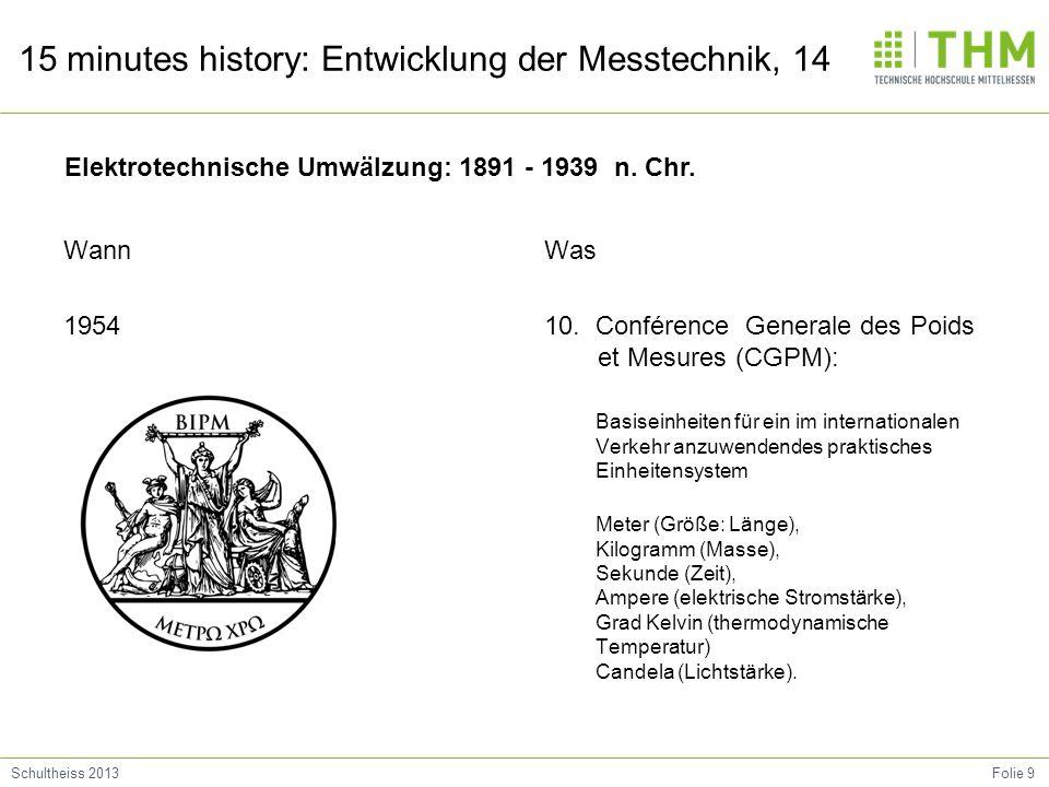 Folie 9Schultheiss 2013 15 minutes history: Entwicklung der Messtechnik, 14 Wann 1954 Was 10. Conférence Generale des Poids et Mesures (CGPM): Basisei