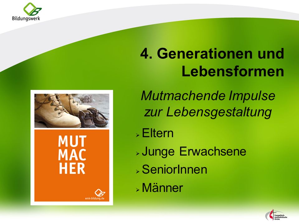 4. Generationen und Lebensformen Mutmachende Impulse zur Lebensgestaltung Eltern Junge Erwachsene SeniorInnen Männer