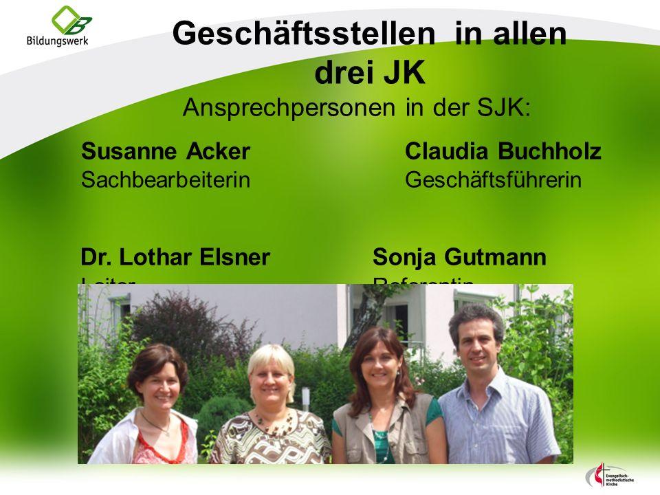 Geschäftsstellen in allen drei JK Ansprechpersonen in der SJK: Susanne AckerClaudia Buchholz SachbearbeiterinGeschäftsführerin Dr.