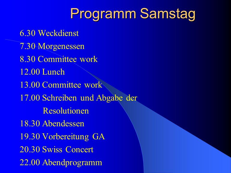 Vorbereitung Jeder Delegation werden 4 Themen zugeteilt, die sie im Vorfeld der Veranstaltung vorbereiten muss. Eines davon wird ihr dann an der Sessi