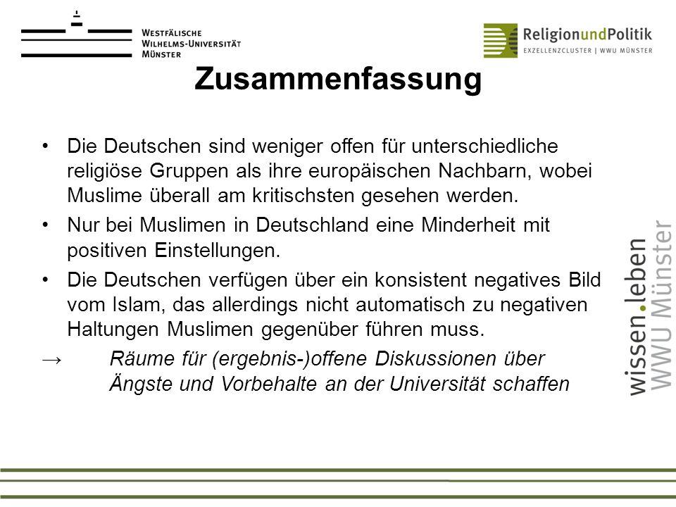 Zusammenfassung Die Deutschen sind weniger offen für unterschiedliche religiöse Gruppen als ihre europäischen Nachbarn, wobei Muslime überall am kriti