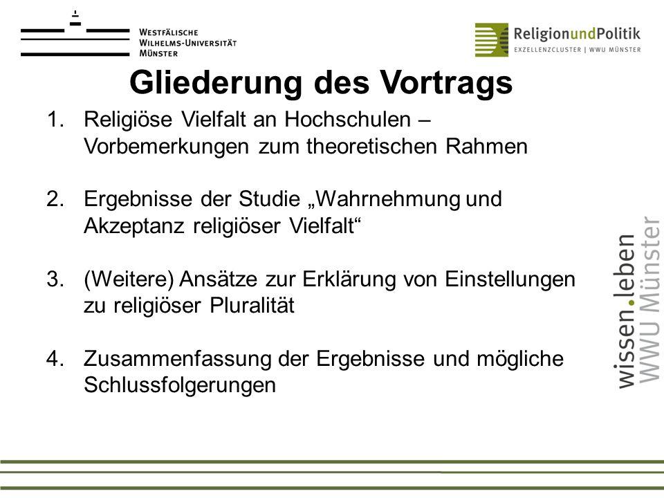 1.Religiöse Vielfalt an Hochschulen – Vorbemerkungen zum theoretischen Rahmen 2.Ergebnisse der Studie Wahrnehmung und Akzeptanz religiöser Vielfalt 3.