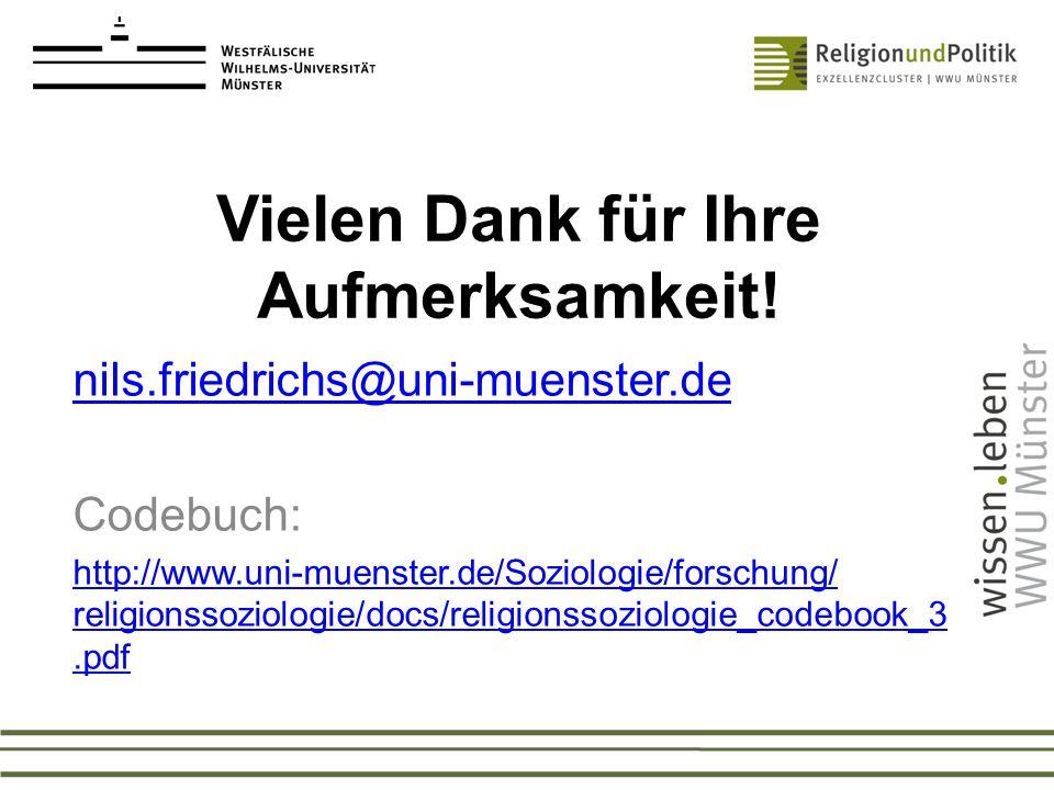 Vielen Dank für Ihre Aufmerksamkeit! nils.friedrichs@uni-muenster.de Codebuch: http://www.uni-muenster.de/Soziologie/forschung/ religionssoziologie/do