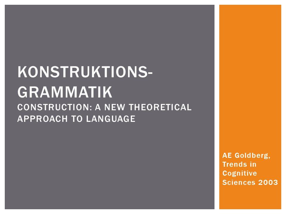 Ziel der Konstruktionsgrammatik: Eine vollständige Analyse der Sprache Alternative zum generative approach (Chomsky) Konstruktion: Verbindung von Form + Bedeutung eines Wortes These: Konstruktionen weisen auf generelle Probleme der Linguistik hin WAS IST KONSTRUKTIONSGRAMMATIK?