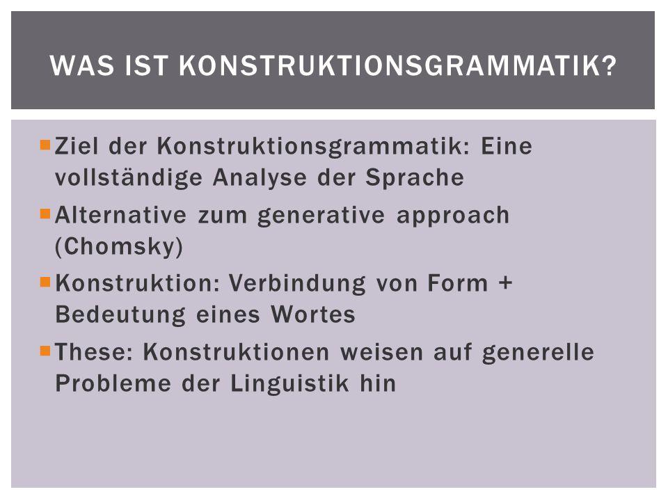 1.Grammatische Beschreibungsebenen beinhalten formbasierte Bindungen mit semantischer oder Diskurs-Funktion (Morpheme, Wörter,Idiome,lexikalische+abstrakte Satzgefüge) 2.Betonung bestimmter Satzbestandteile vermittelt den Standpunkt des Sprechers 3.Die Syntaktische Form wird ohne Hilfsmittel analysiert ( z.B.
