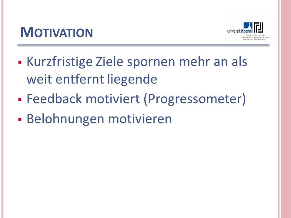 M OTIVATION Kurzfristige Ziele spornen mehr an als weit entfernt liegende Feedback motiviert (Progressometer) Belohnungen motivieren