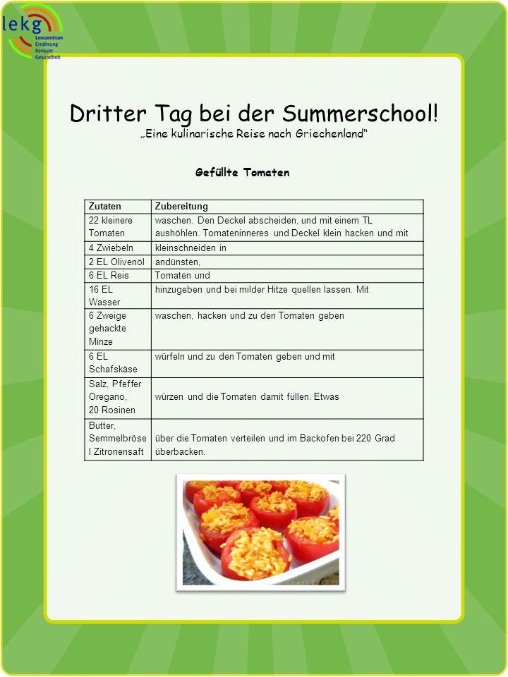 Dritter Tag bei der Summerschool! Eine kulinarische Reise nach Griechenland Gefüllte Tomaten ZutatenZubereitung 22 kleinere Tomaten waschen. Den Decke