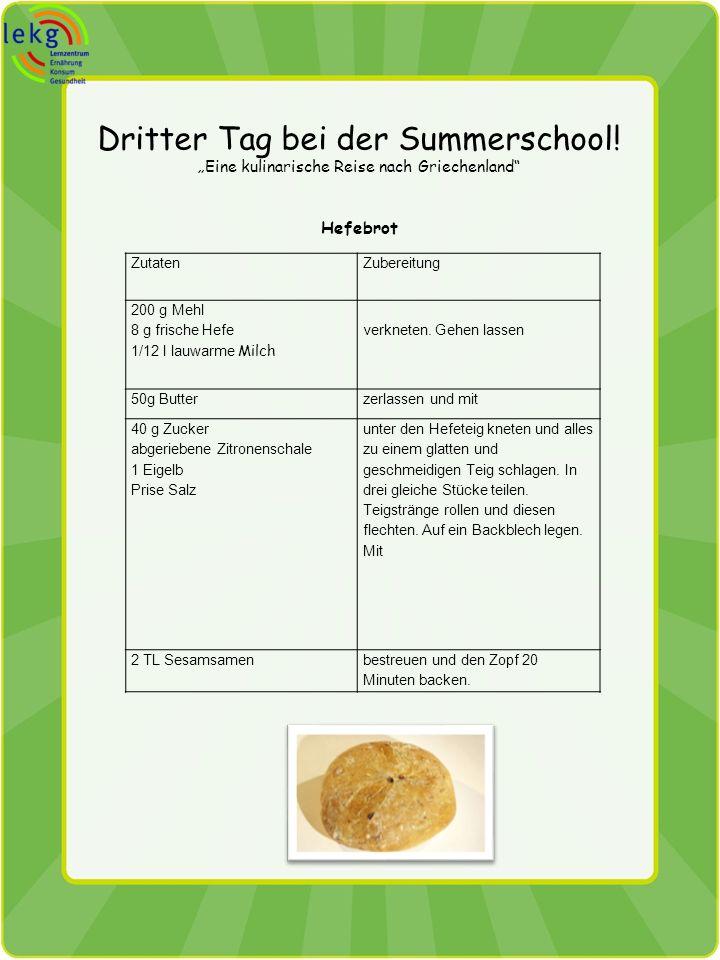 Dritter Tag bei der Summerschool! Eine kulinarische Reise nach Griechenland Hefebrot ZutatenZubereitung 200 g Mehl 8 g frische Hefe 1/12 l lauwarme Mi