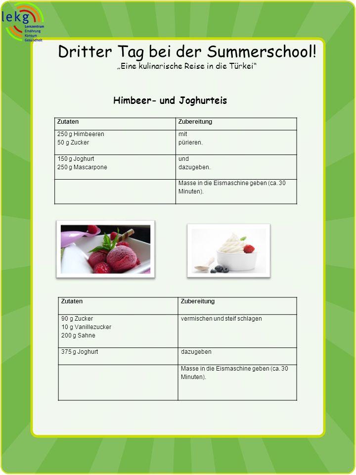 Dritter Tag bei der Summerschool! Eine kulinarische Reise in die Türkei Himbeer- und Joghurteis ZutatenZubereitung 250 g Himbeeren 50 g Zucker mit pür