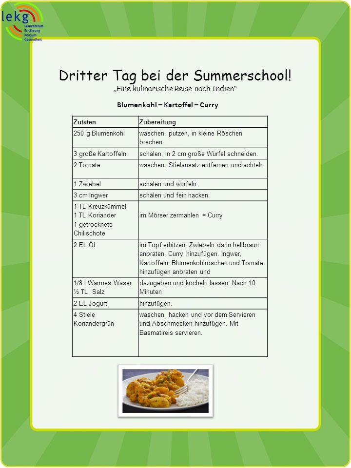 Dritter Tag bei der Summerschool! Eine kulinarische Reise nach Indien Blumenkohl – Kartoffel – Curry ZutatenZubereitung 250 g Blumenkohl waschen, putz
