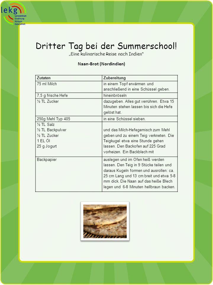 Dritter Tag bei der Summerschool! Eine kulinarische Reise nach Indien Naan-Brot (Nordindien) ZutatenZubereitung 75 ml Milch in einem Topf erwärmen und