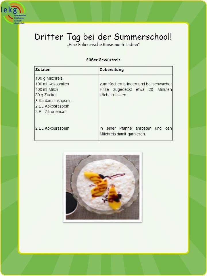 Dritter Tag bei der Summerschool! Eine kulinarische Reise nach Indien Süßer Gewürzreis ZutatenZubereitung 100 g Milchreis 100 ml Kokosmilch 400 ml Mil