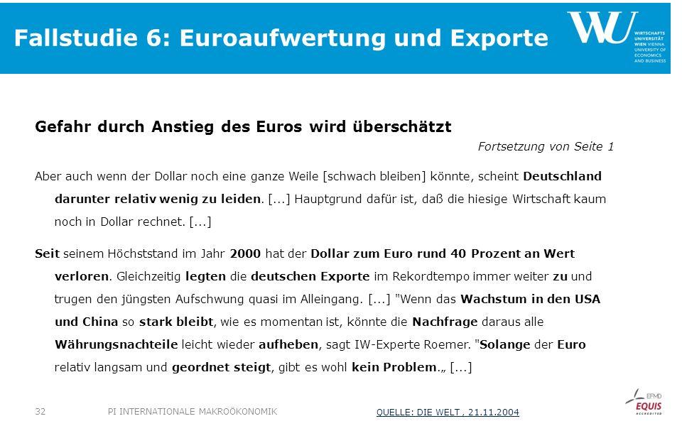 Fallstudie 6: Euroaufwertung und Exporte Gefahr durch Anstieg des Euros wird überschätzt Fortsetzung von Seite 1 Aber auch wenn der Dollar noch eine ganze Weile [schwach bleiben] könnte, scheint Deutschland darunter relativ wenig zu leiden.