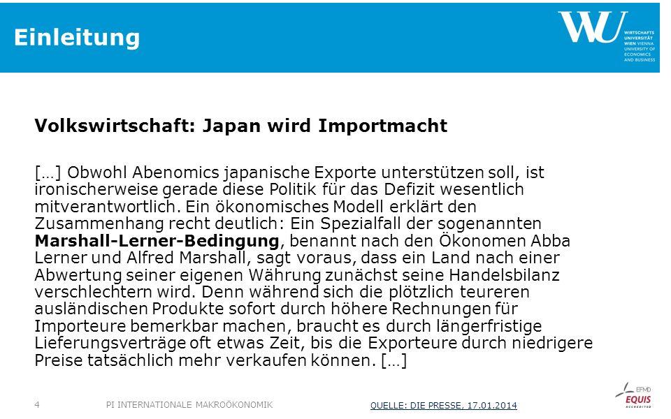 Einleitung Volkswirtschaft: Japan wird Importmacht […] Obwohl Abenomics japanische Exporte unterstützen soll, ist ironischerweise gerade diese Politik für das Defizit wesentlich mitverantwortlich.