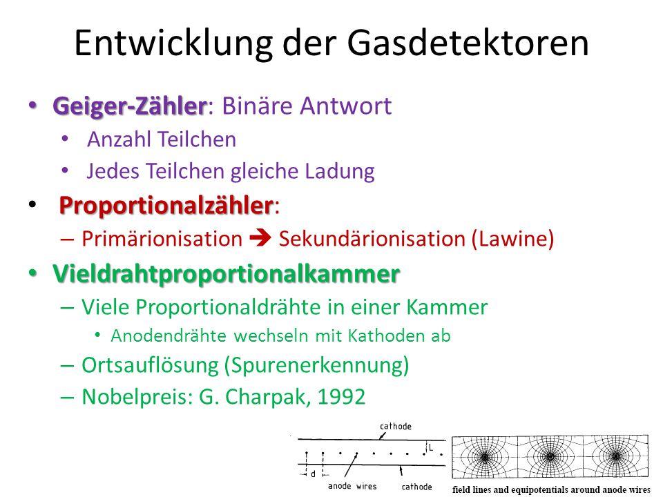 Entwicklung der Gasdetektoren Geiger-Zähler: Binäre Antwort Anzahl Teilchen Jedes Teilchen gleiche Ladung Proportionalzähler: –P–Primärionisation Seku