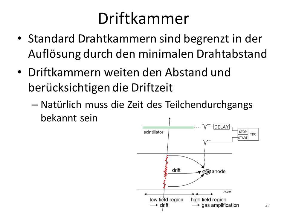 Driftkammer Standard Drahtkammern sind begrenzt in der Auflösung durch den minimalen Drahtabstand Driftkammern weiten den Abstand und berücksichtigen