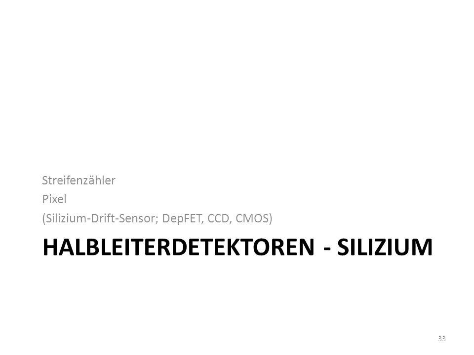 HALBLEITERDETEKTOREN - SILIZIUM Streifenzähler Pixel (Silizium-Drift-Sensor; DepFET, CCD, CMOS) 33