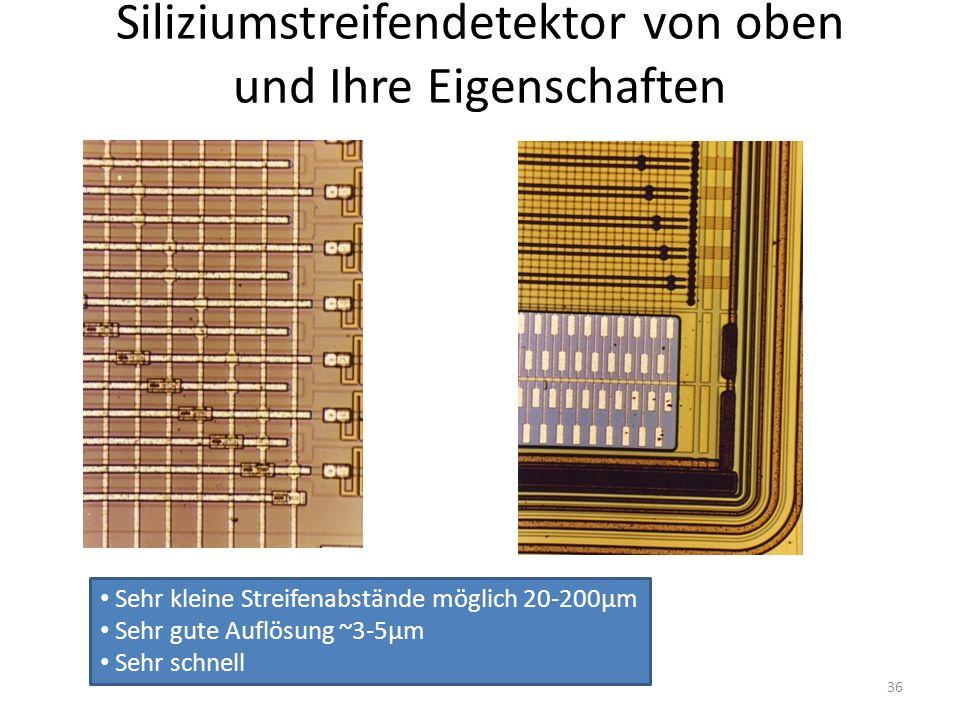 Siliziumstreifendetektor von oben und Ihre Eigenschaften Sehr kleine Streifenabstände möglich 20-200µm Sehr gute Auflösung ~3-5µm Sehr schnell 36
