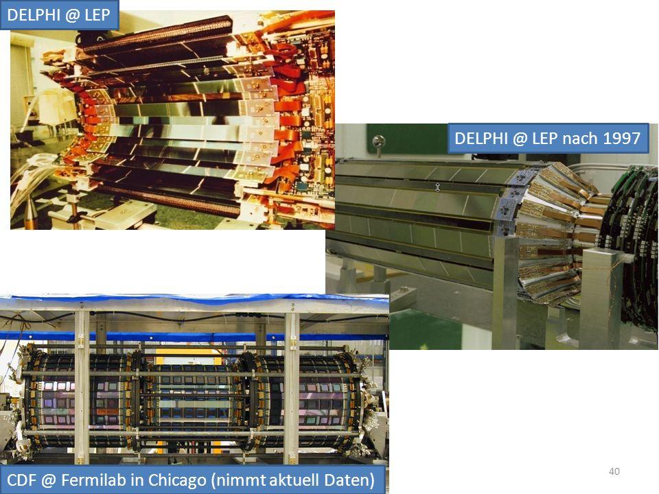 DELPHI @ LEP DELPHI @ LEP nach 1997 CDF @ Fermilab in Chicago (nimmt aktuell Daten) 40