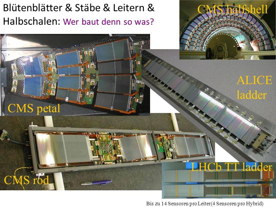 Blütenblätter & Stäbe & Leitern & Halbschalen: Wer baut denn so was? 41 CMS petal CMS rod ALICE ladder CMS halfshell LHCb TT ladder Bis zu 14 Sensoren