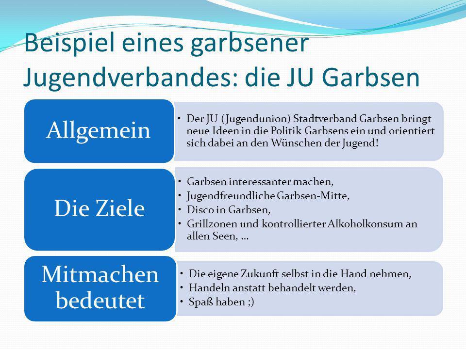 Beispiel eines garbsener Jugendverbandes: die JU Garbsen Der JU (Jugendunion) Stadtverband Garbsen bringt neue Ideen in die Politik Garbsens ein und orientiert sich dabei an den Wünschen der Jugend.