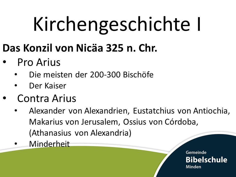 Kirchengeschichte I Das Konzil von Nicäa 325 n. Chr. Pro Arius Die meisten der 200-300 Bischöfe Der Kaiser Contra Arius Alexander von Alexandrien, Eus