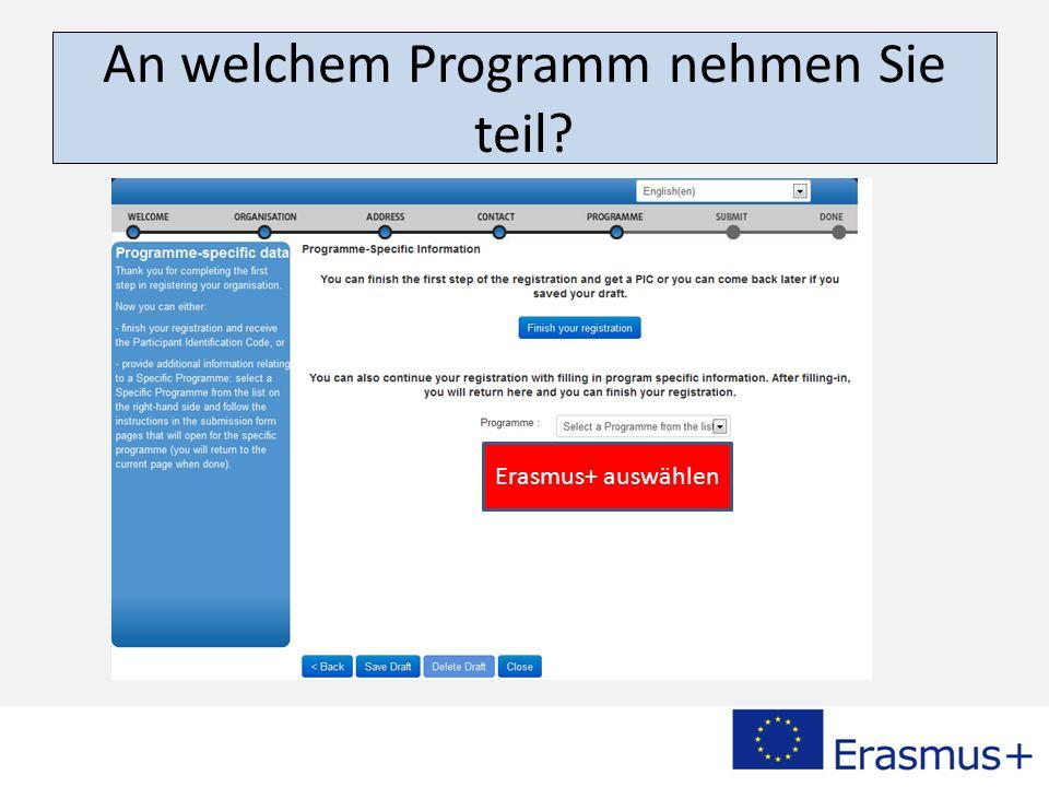 An welchem Programm nehmen Sie teil? Erasmus+ auswählen