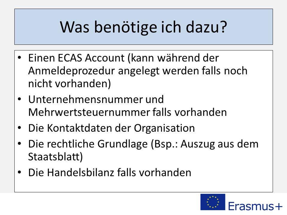 Los geht´s! Besuchen Sie folgenden Link: http://ec.europa.eu/education/participants/portal
