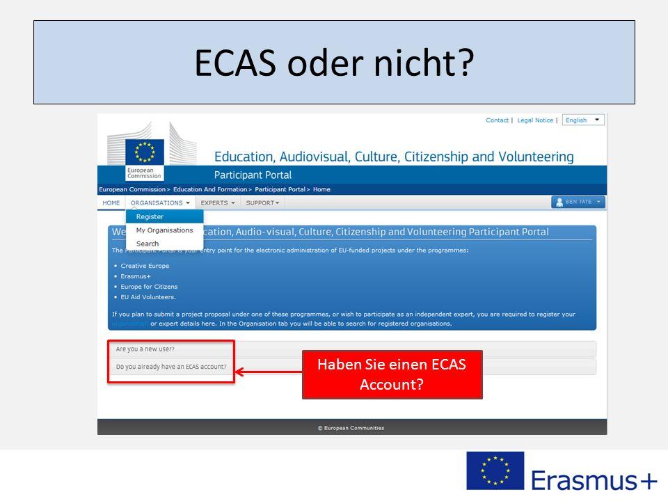 ECAS oder nicht? Haben Sie einen ECAS Account?