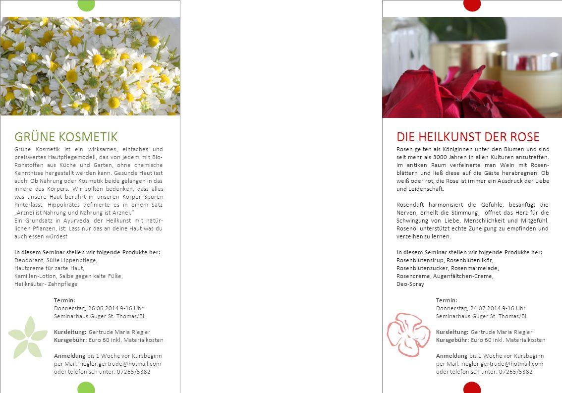 AUSBILDUNG: ( Dip.) Kräuter - Pädagogin Pädagogin für grüne Kosmetik Energetischen Heiler Raintrop Praktitioner Ausbildungen in Floristik u.