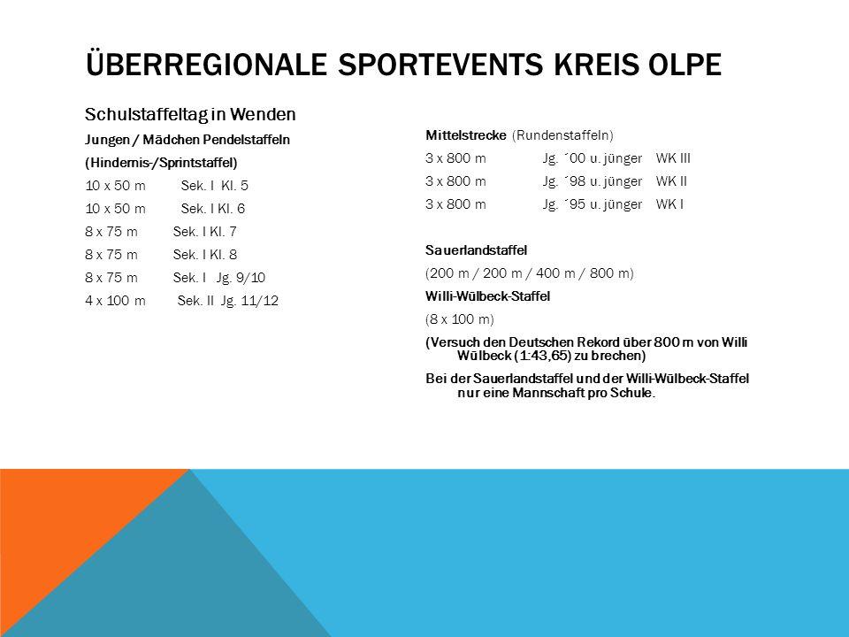 ÜBERREGIONALE SPORTEVENTS KREIS OLPE Schulstaffeltag in Wenden Jungen / Mädchen Pendelstaffeln (Hindernis-/Sprintstaffel) 10 x 50 m Sek.