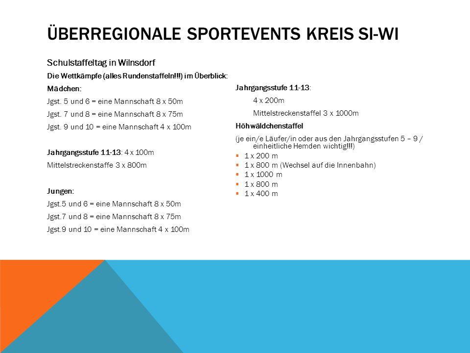 ÜBERREGIONALE SPORTEVENTS KREIS SI-WI Schulstaffeltag in Wilnsdorf Die Wettkämpfe (alles Rundenstaffeln!!!) im Überblick: Mädchen: Jgst.