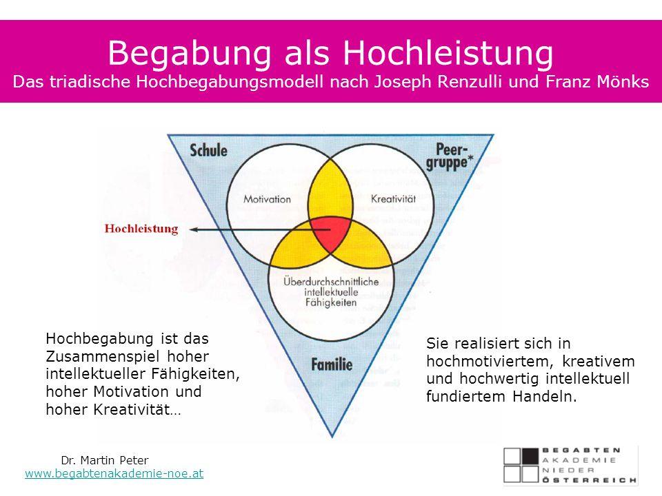 Begabung als Hochleistung Das triadische Hochbegabungsmodell nach Joseph Renzulli und Franz Mönks Dr.