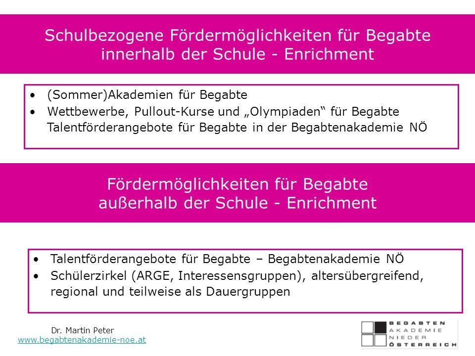 Dr. Martin Peter www.begabtenakademie-noe.at Schulbezogene Fördermöglichkeiten für Begabte innerhalb der Schule - Enrichment (Sommer)Akademien für Beg