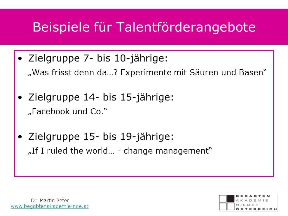 Beispiele für Talentförderangebote Zielgruppe 7- bis 10-jährige: Was frisst denn da….